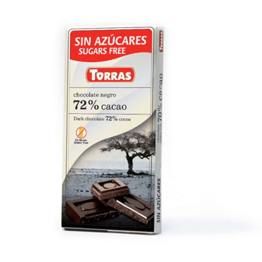 Torras Sugar Free Dark Chocolate 72% Cocoa Tablet