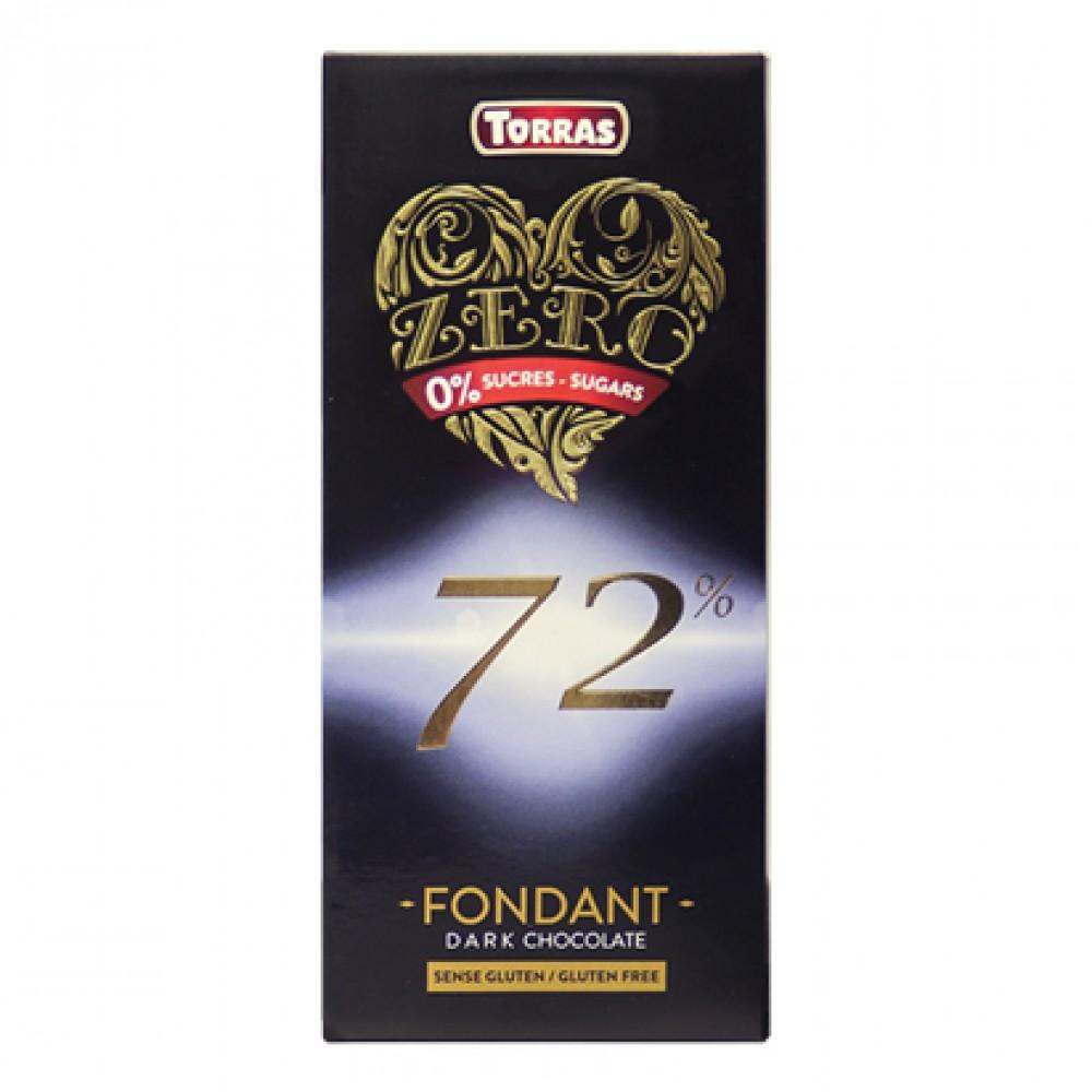 Torras Gluten Free Zero 72% Dark Chocolate Tablet
