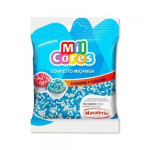 Mavalerio Mil Cores, Rainbow Nonpareil Food Decorative, White & Blue Sprinkles, for Cake and Ice Cream Decoration