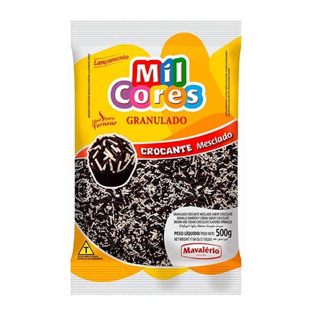 Mavalerio Mil Cores, Vermicelli Granulated Confectionery, Gluten Free Brown and Cream Chocolate Flavored Sprinkles