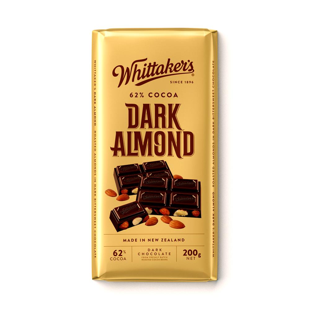Whittakers 62% Dark Almond Bar