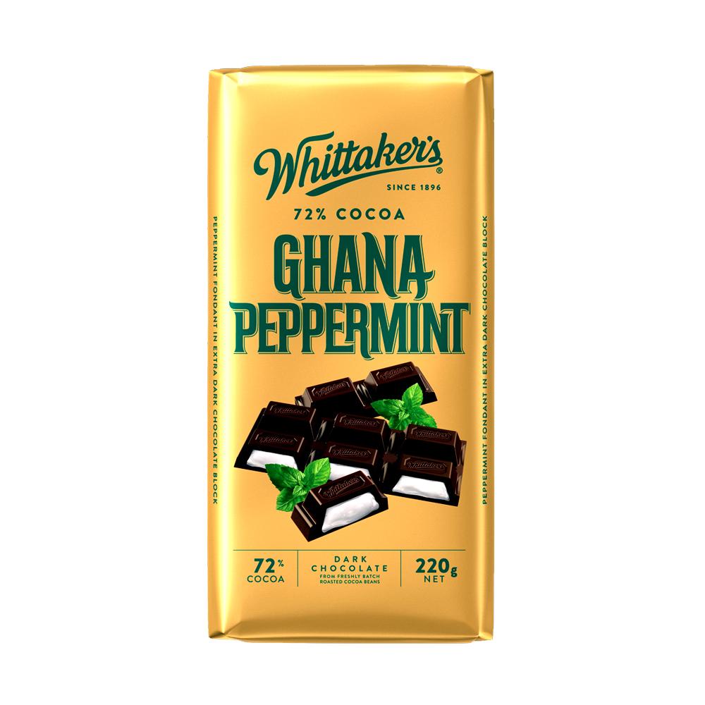 Whittakers 72% Ghana Peppermint Bar