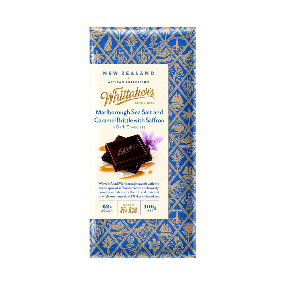 Whittakers 62% Dark Marlborough Sea Salt & Caramel Brittle W/ Saffron