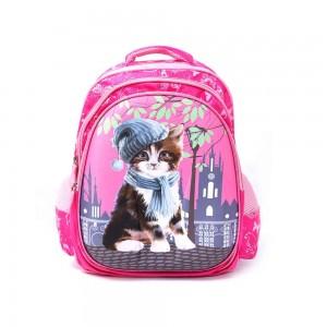 PARA JOHN Backpack for School, Travel & Work, 16''- PJSB6025A16-Pink with Cat Design