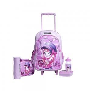 PARA JOHN 5 in 1 Wheeled School Backpack Set - PJSB6053-Pink