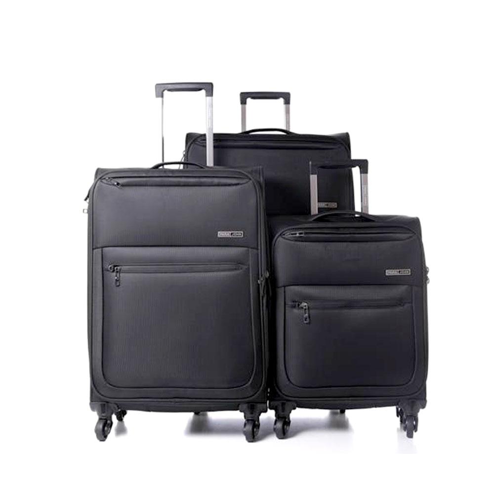 Parajohn PJTR3116 Polyester Soft Trolley Luggage Set, Black
