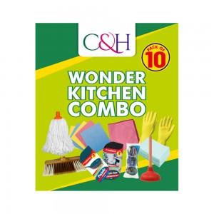 C&H Wonder Kitchen Combo with Mop, Inox Sponge, Sponge Cloth, Microfibre Cloth, Padelle Sponge, Water Plunger, Wipe, Glo