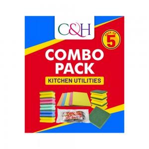 C&H Sponge Combo with Multicolour sponge, Inox Sponge, Dust Cloth, Scouring pad, & Scouring Sponge
