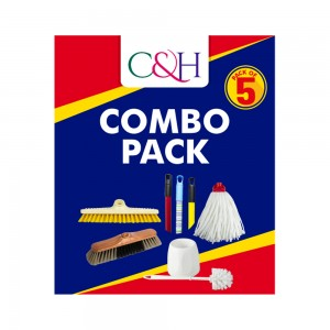 C&H Cleaning Combo with Broom, Scrubbing Brush, Cotton Mop & Toilet Brush