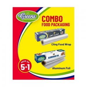 C&H Foodpackaging Combo with 5 Aluminium Foil & 1 Cling Food Wrap