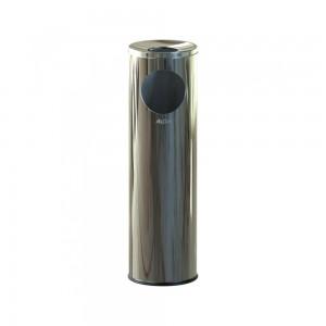 Alda Stainless Steel 15L Cigarette Pillar Gloss Ashtray Bin-630